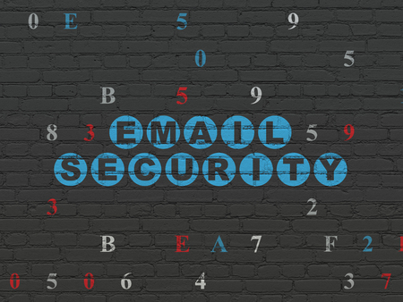 crack: Privacy concept: Painted blue text Email Security on Black Brick wall background with Hexadecimal Code