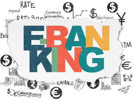 e commerce icon: Currency concept: Painted multicolor text E-Banking on Torn Paper background with  Hand Drawn Finance Icons