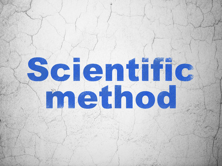 Science concept: Blue Scientific Method on textured concrete wall background