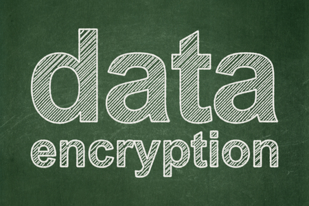 Safety concept: text Data Encryption on Green chalkboard background