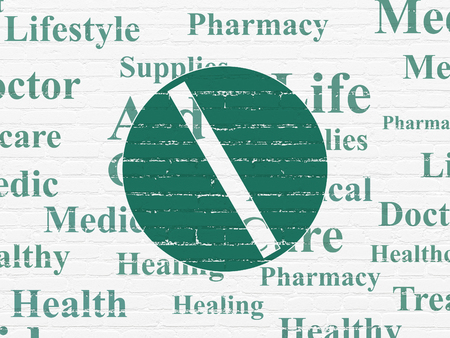medical drawing: Healthcare concept: Painted green Pill icon on White Brick wall background with  Tag Cloud Stock Photo
