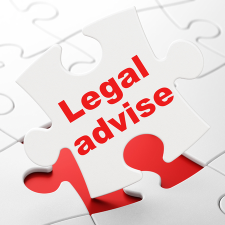 Law concept: Legal Advise on White puzzle pieces background, 3D rendering Stock Photo