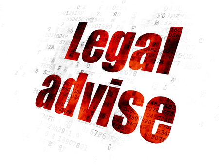 Law concept: Pixelated red text Legal Advise on Digital background Stock Photo