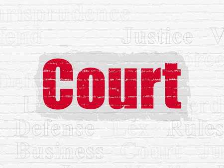 Law concept: Painted red text Court on White Brick wall background with  Tag Cloud Stock Photo
