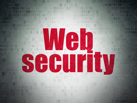 drawing pin: Security concept: Painted red word Web Security on Digital Data Paper background