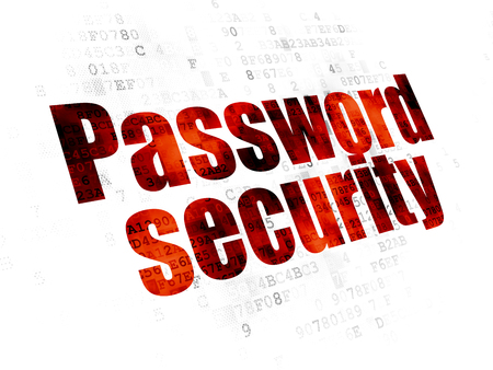 Protection concept: Pixelated red text Password Security on Digital background Stock Photo