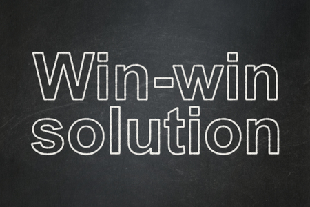 Business concept: text Win-win Solution on Black chalkboard background Banco de Imagens