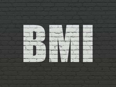 medical drawing: Medicine concept: Painted white text BMI on Black Brick wall background Stock Photo