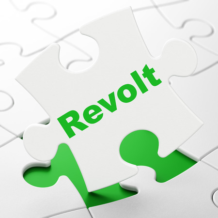 Political concept: Revolt on White puzzle pieces background, 3D rendering Stock Photo