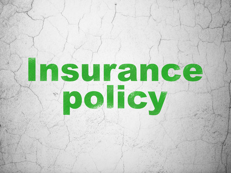 Insurance concept: Green Insurance Policy on textured concrete wall background
