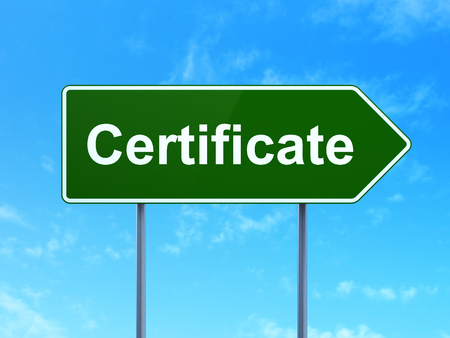 Law concept: Certificate on green road highway sign, clear blue sky background, 3D rendering Stock Photo