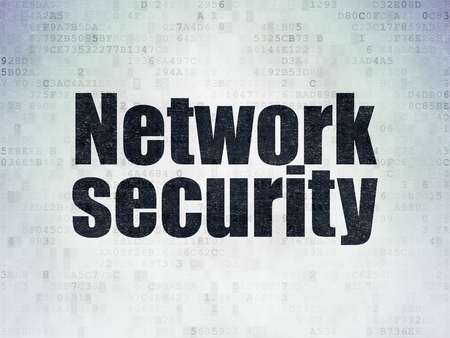 drawing pin: Privacy concept: Painted black word Network Security on Digital Data Paper background