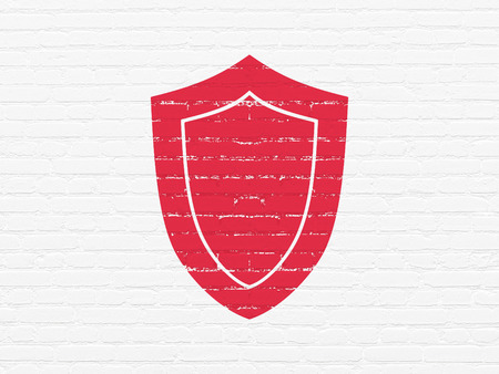 drawing pin: Privacy concept: Painted red Shield icon on White Brick wall background