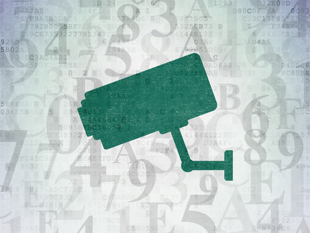 Privacy concept: Painted green Cctv Camera icon on Digital Data Paper background with  Hexadecimal Code