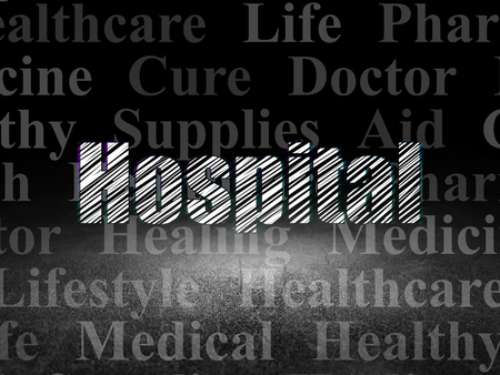 dirty room: Health concept: Glowing text Hospital in grunge dark room with Dirty Floor, black background with  Tag Cloud