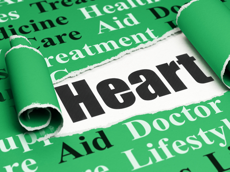 Healthcare concept: black text Heart under the curled piece of Green torn paper with  Tag Cloud, 3D rendering