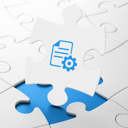 Database concept: Gear on White puzzle pieces background, 3D rendering