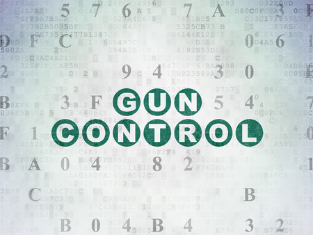 Safety concept: Painted green text Gun Control on Digital Data Paper background with Hexadecimal Code Stock Photo