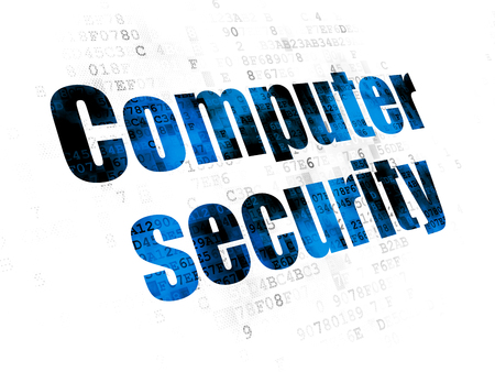 Safety concept: Pixelated blue text Computer Security on Digital background Stock Photo