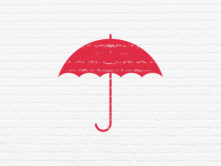 drawing pin: Protection concept: Painted red Umbrella icon on White Brick wall background
