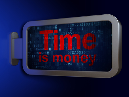 Time concept: Time Is money on advertising billboard background, 3D rendering Stock Photo