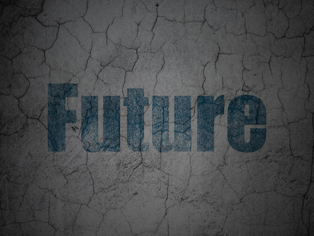 Time concept: Blue Future on grunge textured concrete wall background