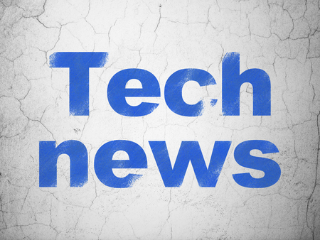 tabloid: News concept: Blue Tech News on textured concrete wall background Stock Photo