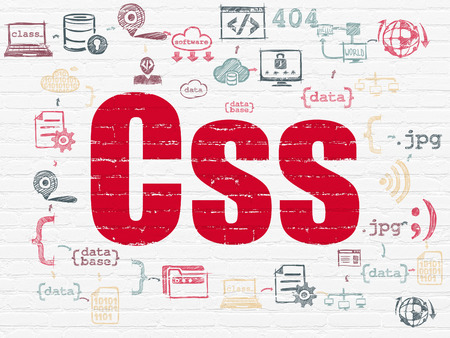 css: Software concept: Painted red text Css on White Brick wall background with Scheme Of Hand Drawn Programming Icons Stock Photo
