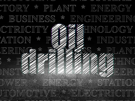 Industry concept: Glowing text Oil Drilling in grunge dark room with Dirty Floor, black background with  Tag Cloud Stock Photo