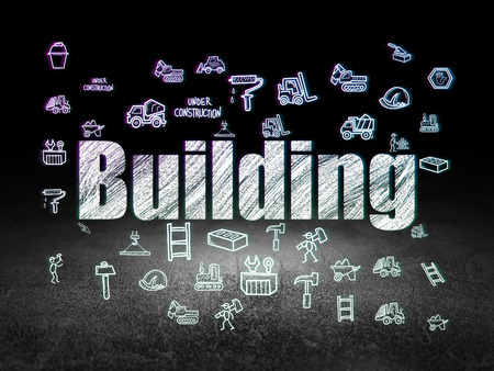 dirty room: Construction concept: Glowing text Building,  Hand Drawn Construction Icons in grunge dark room with Dirty Floor, black background