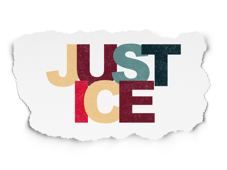 Law concept: Painted multicolor text Justice on Torn Paper background