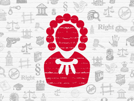 building regulations: Law concept: Painted red Judge icon on White Brick wall background with  Hand Drawn Law Icons
