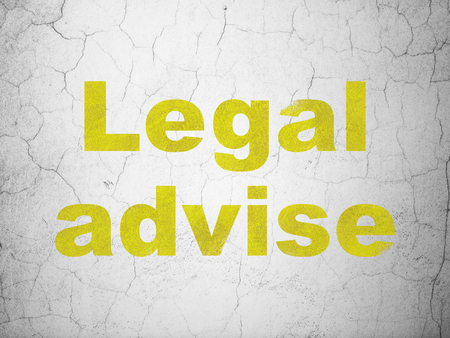 Law concept: Yellow Legal Advise on textured concrete wall background