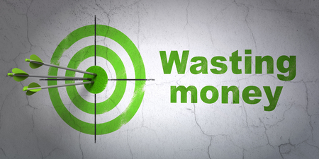 Success currency concept: arrows hitting the center of target, Green Wasting Money on wall background, 3D rendering Stok Fotoğraf