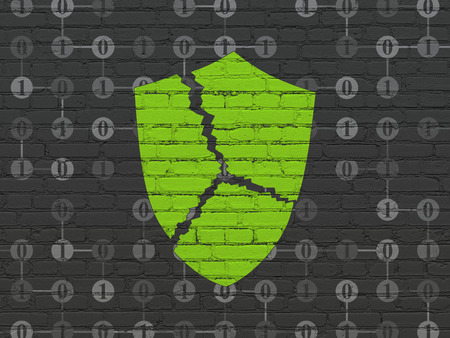 broken strategy: Protection concept: Painted green Broken Shield icon on Black Brick wall background with Scheme Of Binary Code Stock Photo