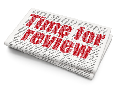 Timeline concept: Pixelated red text Time for Review on Newspaper background, 3D rendering Stock Photo - 82955311