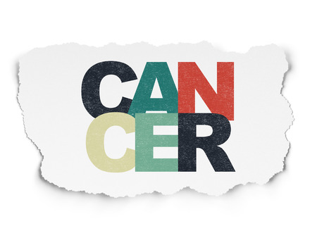 Health concept: Painted multicolor text Cancer on Torn Paper background Stock Photo