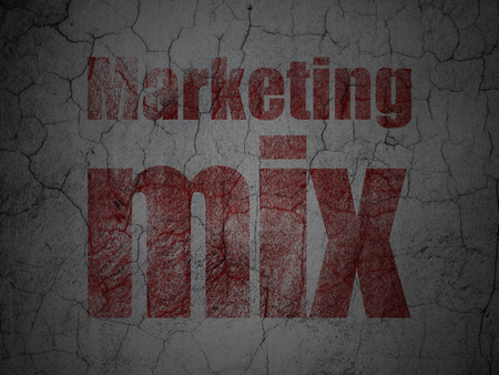 Advertising concept: Red Marketing Mix on grunge textured concrete wall background