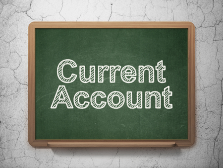 current account: Money concept: text Current Account on Green chalkboard on grunge wall background, 3D rendering