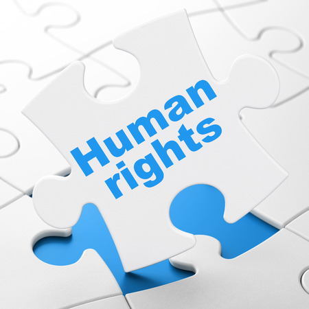 Politics concept: Human Rights on White puzzle pieces background, 3D rendering