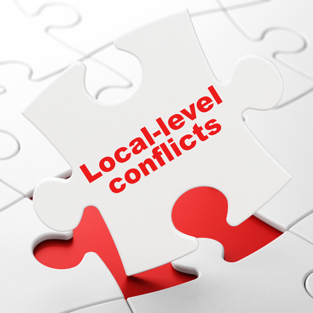 Political concept: Local-level Conflicts on White puzzle pieces background, 3D rendering