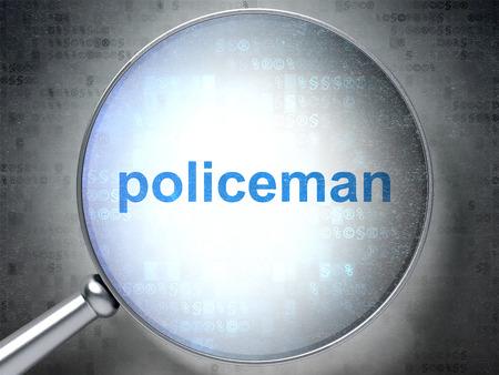 法の概念: デジタル背景に警官の言葉と光学ガラスを拡大 3 D レンダリング