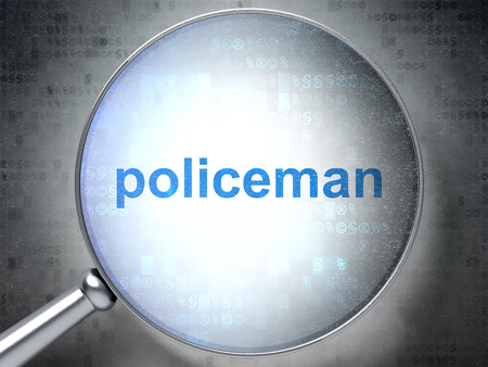 Law concept: magnifying optical glass with words Policeman on digital background, 3D rendering