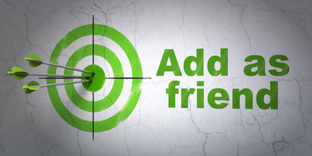 add as friend: Success social network concept: arrows hitting the center of target, Green Add as Friend on wall background, 3D rendering Stock Photo