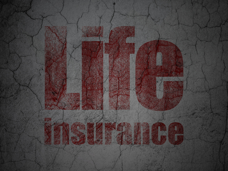 Insurance concept: Red Life Insurance on grunge textured concrete wall background