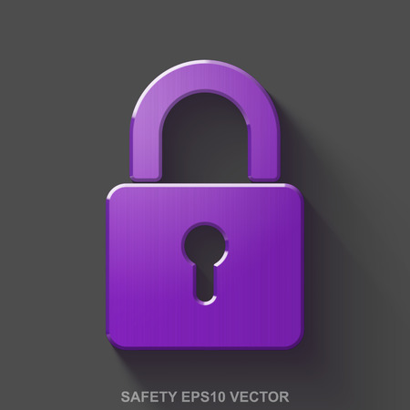Flat metallic privacy 3D icon. Purple Glossy Metal Closed Padlock icon with transparent shadow on Gray background. EPS 10, vector illustration. Illustration