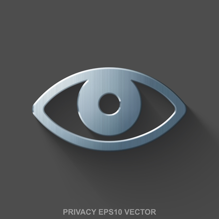 polished: Flat metallic safety 3D icon. Polished Steel Eye icon with transparent shadow on Gray background. EPS 10, vector illustration. Illustration