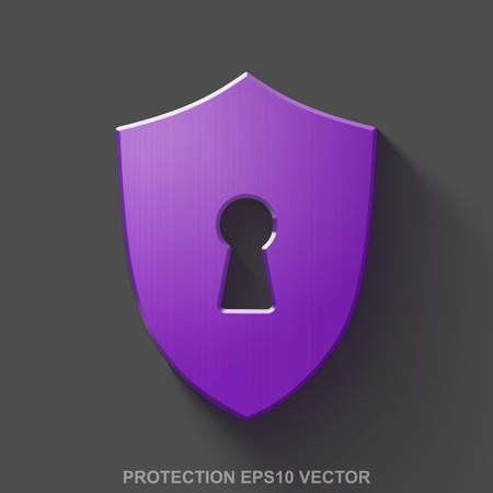 key hole: Flat metallic safety 3D icon. Purple Glossy Metal Shield With Keyhole icon with transparent shadow on Gray background. EPS 10, vector illustration. Illustration