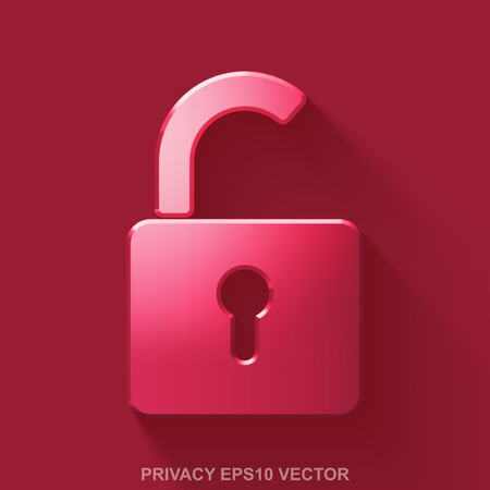 Flat metallic safety 3D icon. Red Glossy Metal Opened Padlock icon with transparent shadow on Red background. EPS 10, vector illustration.