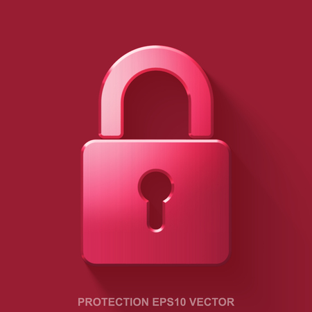 Flat metallic safety 3D icon. Red Glossy Metal Closed Padlock icon with transparent shadow on Red background. EPS 10, vector illustration.